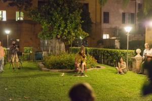 Jardín con gente
