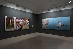 Sala de exposiciones. De izquierda a derecha: Santiago Lara y Santiago Ydáñez